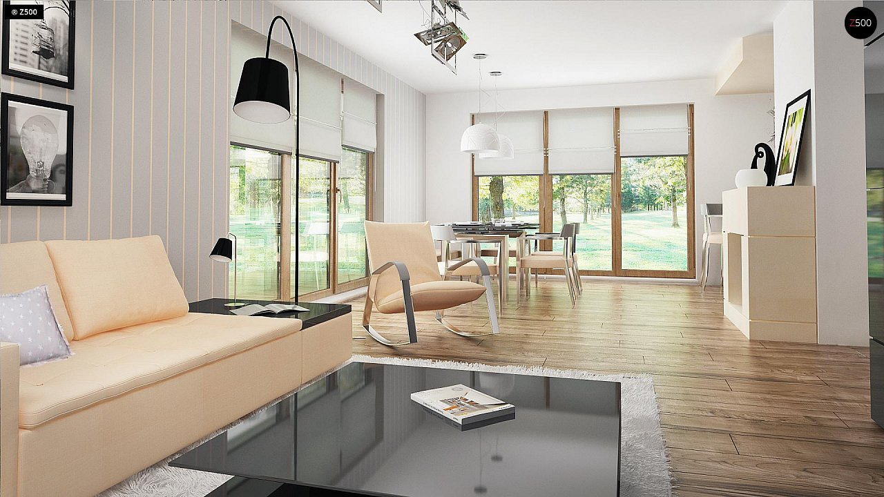 Проект функционального уютного дома с мансардными окнами и оригинальной отделкой фасадов. 7