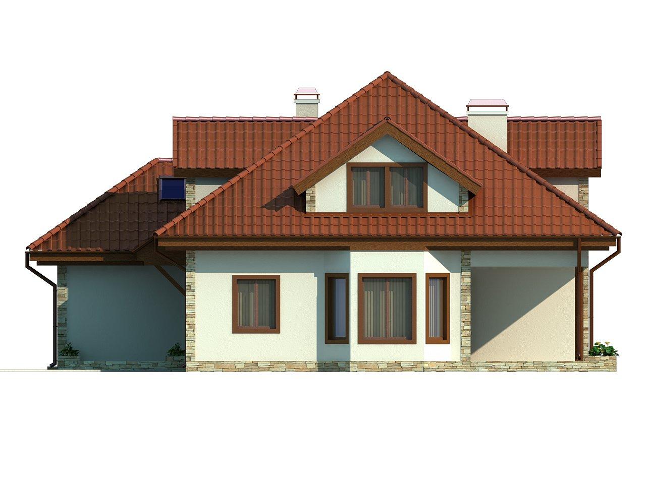 Проект просторного и уютного дома с гаражом, эркером, красивыми мансардными окнами. - фото 5