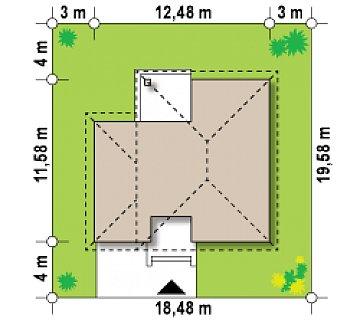 Элегантный двухэтажный дом с боковым гаражом и кабинетом на первом этаже. план помещений 1