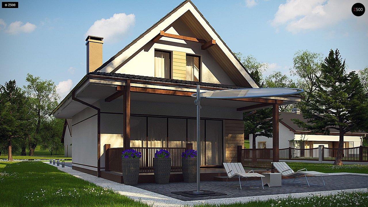 Небольшой мансардный дом с верандой, подойдет для строительства на узком участке. - фото 5