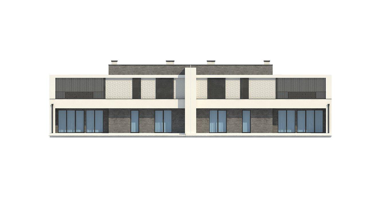 Современный проект домов-близнецов с большим гаражом и террасой на втором этаже. 15