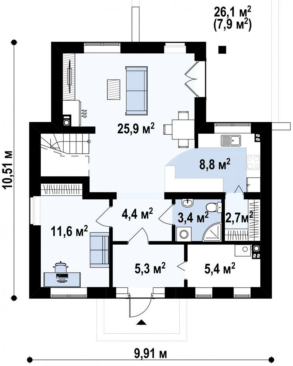 Простой в строительстве дом с балконом над входом. план помещений 1