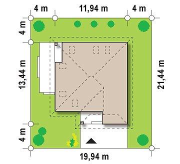 Красивый и функциональный дом с боковой террасой и необычным мансардным окном. план помещений 1