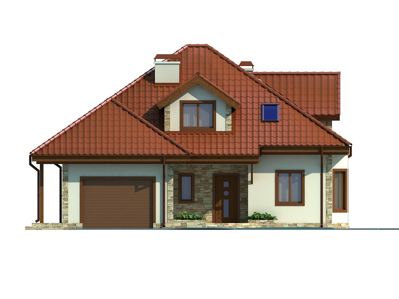 Проект просторного и уютного дома с гаражом, эркером, красивыми мансардными окнами. - фото 3