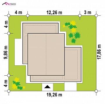 Проект двухэтажного дома с дополнительной комнатой на первом этаже и гаражом на один автомобиль. план помещений 1