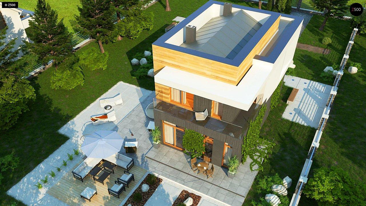 Проект двухэтажного дома в стиле кубизм, подходит для строительства на узком участке. - фото 6