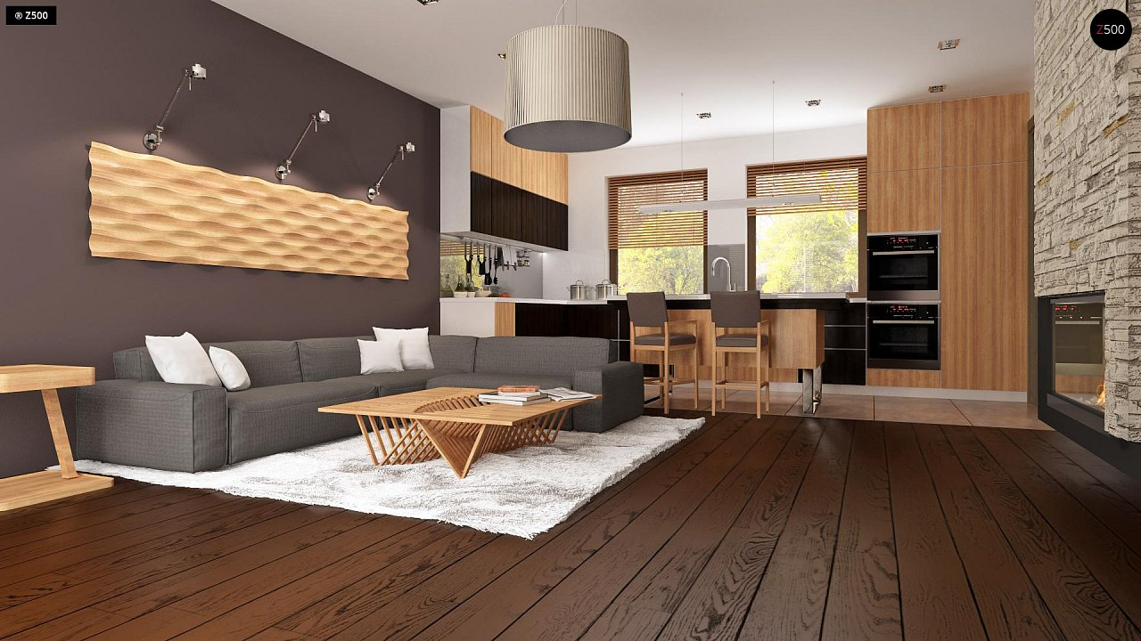 Проект небольшого практичного одноэтажного дома. Есть возможность обустройства чердачного помещения. 7