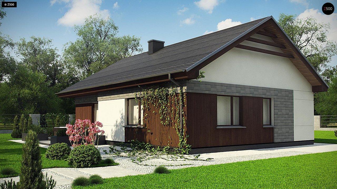 Проект уютного одноэтажного дома с двускатной кровлей. - фото 4