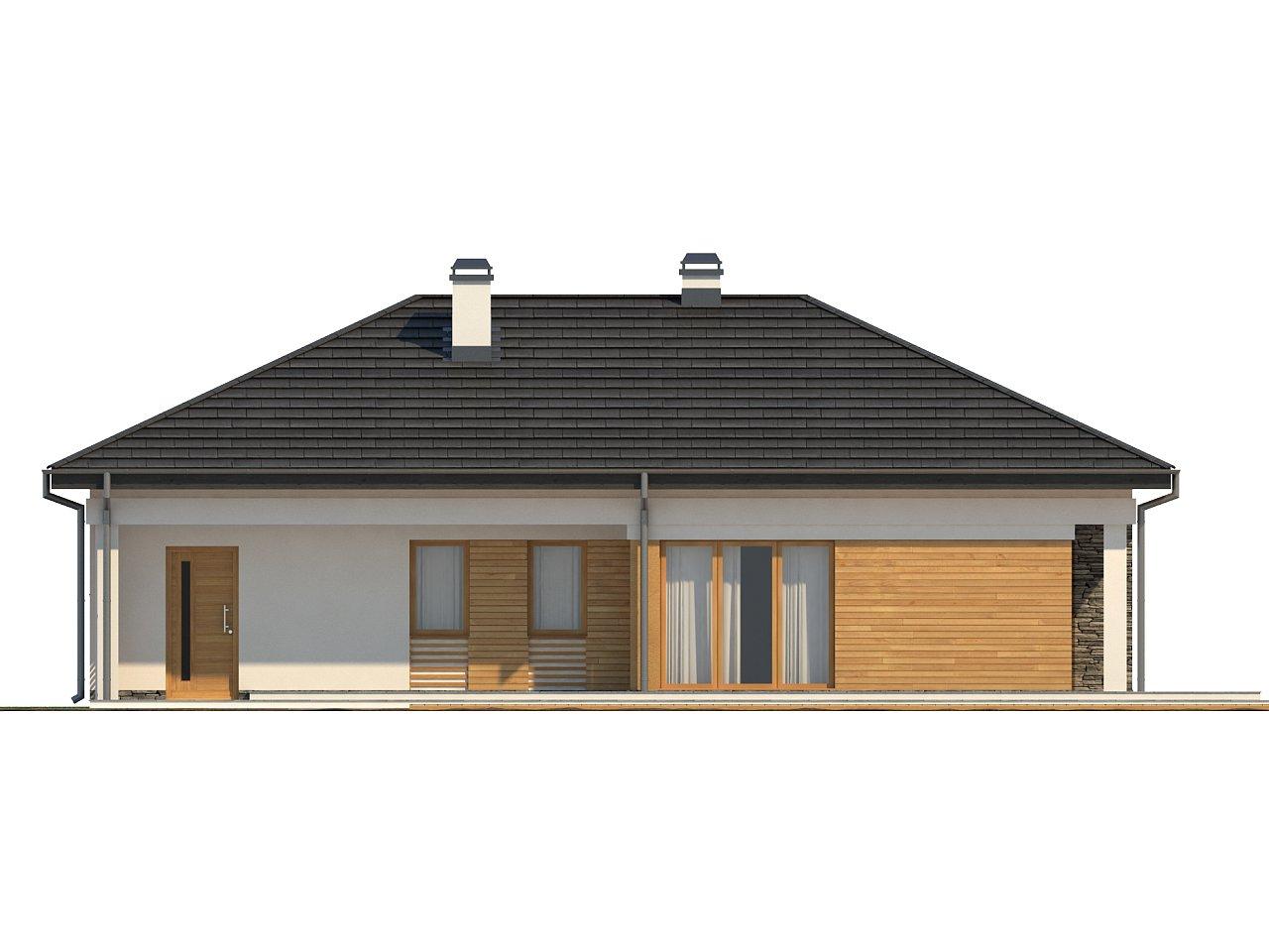 Проект функционального одноэтажного дома. Ночная зона во фронтальной части, кухня со стороны сада. 23