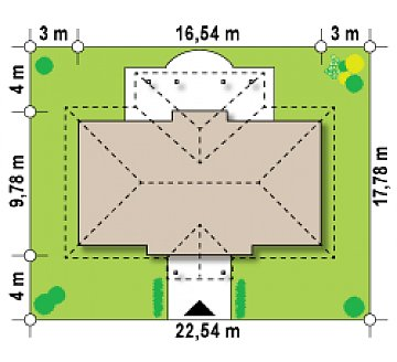 Симметричный одноэтажный дом с многоскатной кровлей. план помещений 1