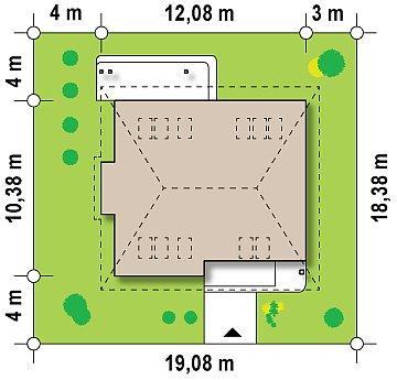 Проект функционального дома с дополнительной небольшой ночной зоной на первом этаже. план помещений 1