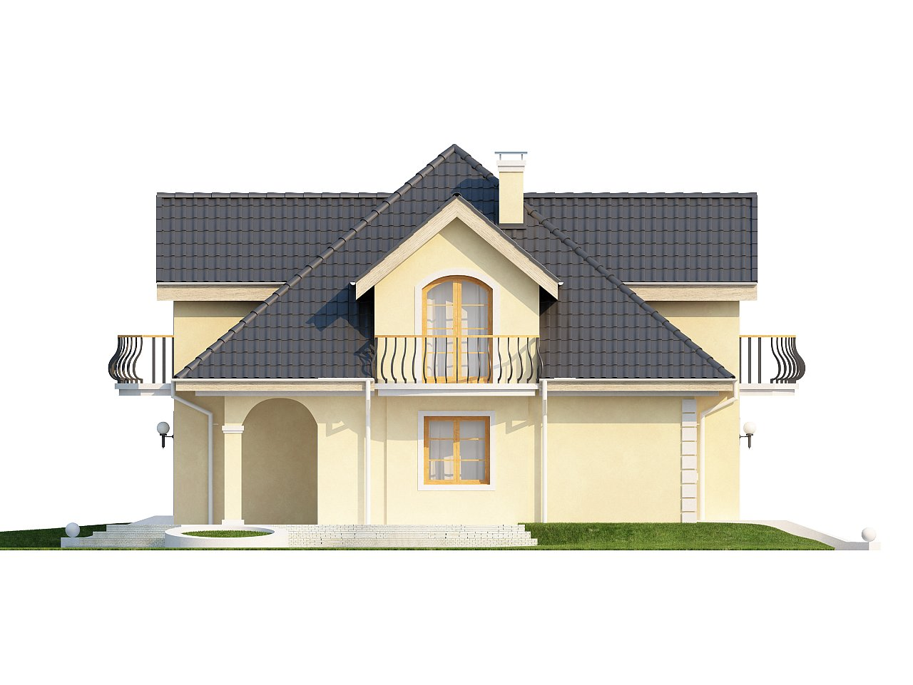 Проект изысканного классического дома с мансардой. 6