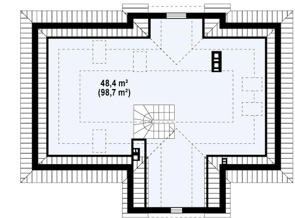 Проект в стиле дворянской усадьбы с возможностью обустройства чердачного помещения. план помещений 2