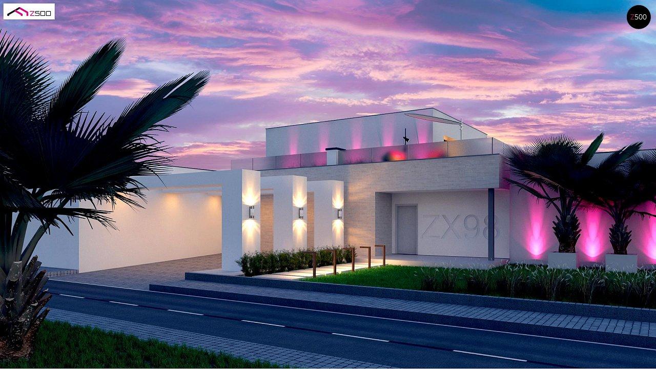 Стильный современный проект двухэтажного дома, подходит для строительства на участке со склоном. 3