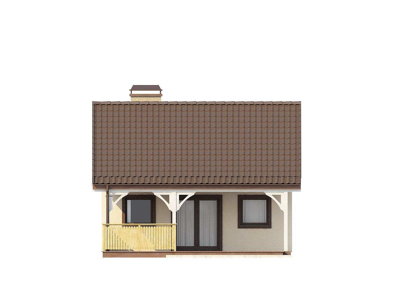 Выгодный в строительстве и эксплуатации маленький одноэтажный дом с крытой террасой. 12
