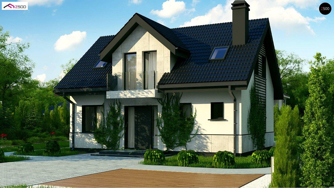Простой в строительстве дом с балконом над входом. 4