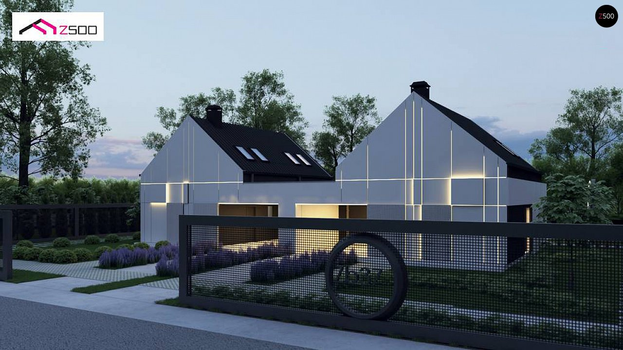 Современный двухсемейный дом с двускатной крышей 1
