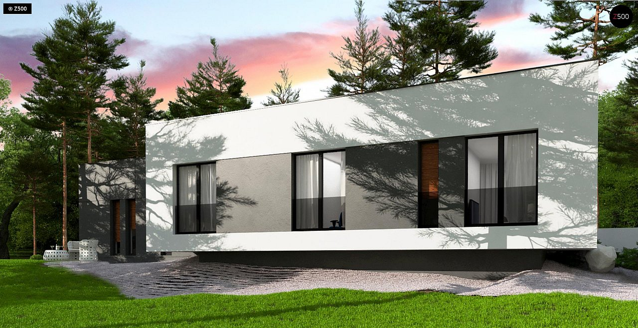 Проект современного одноэтажного дома с плоской кровлей. - фото 4