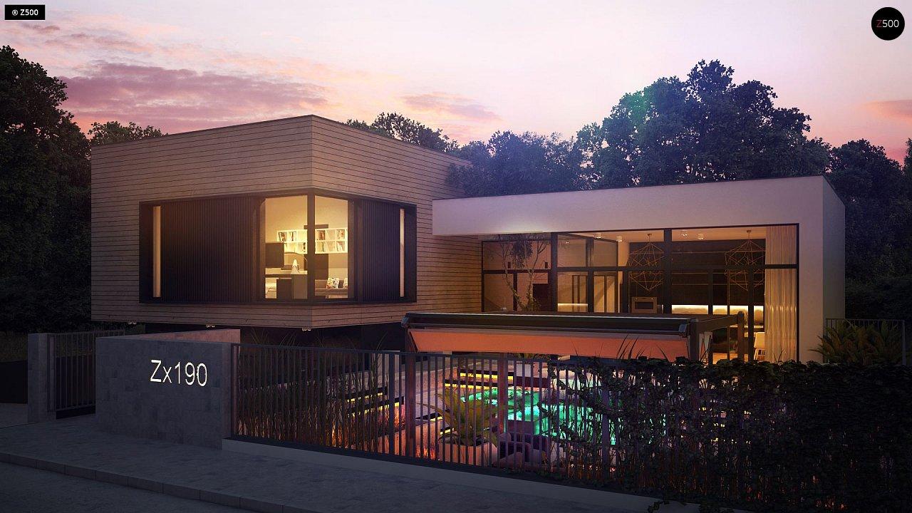 Проект современного дома с плоской кровлей и подземным гаражом. 4