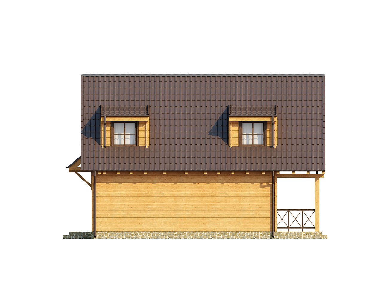Компактный дом с мансардой, с крытой террасой и внешним камином. 14