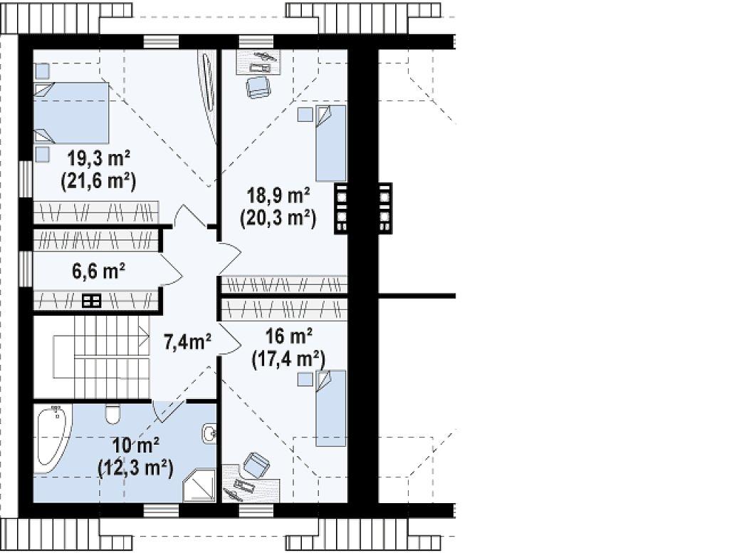 Дома близнецы элегантного дизайна со встроенным гаражом. план помещений 2