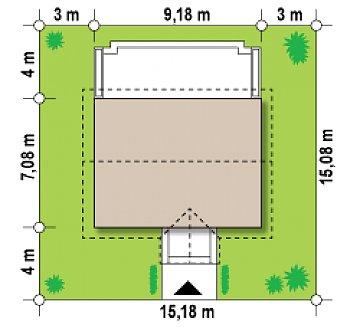 Маленький одноэтажный дом с двускатной кровлей, недорогой в строительстве и эксплуатации. план помещений 1