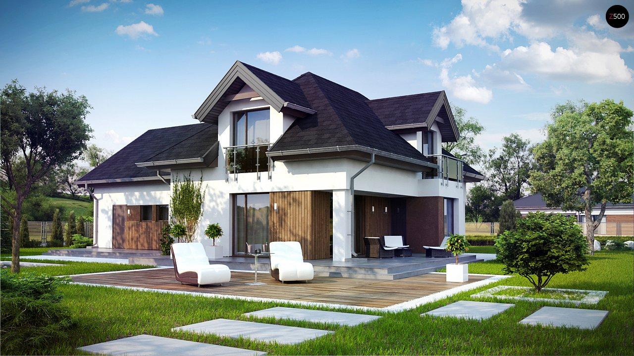 Комфортабельный дом с интересными фасадными окнами, с гаражом на два авто. 1