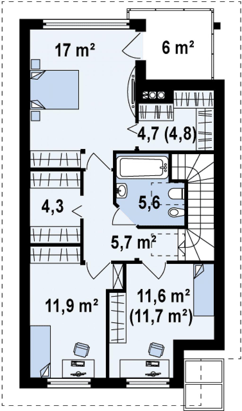 Энергоэффективный и удобный дом с современными элементами отделки фасадов. Подходит для узкого участка. план помещений 2