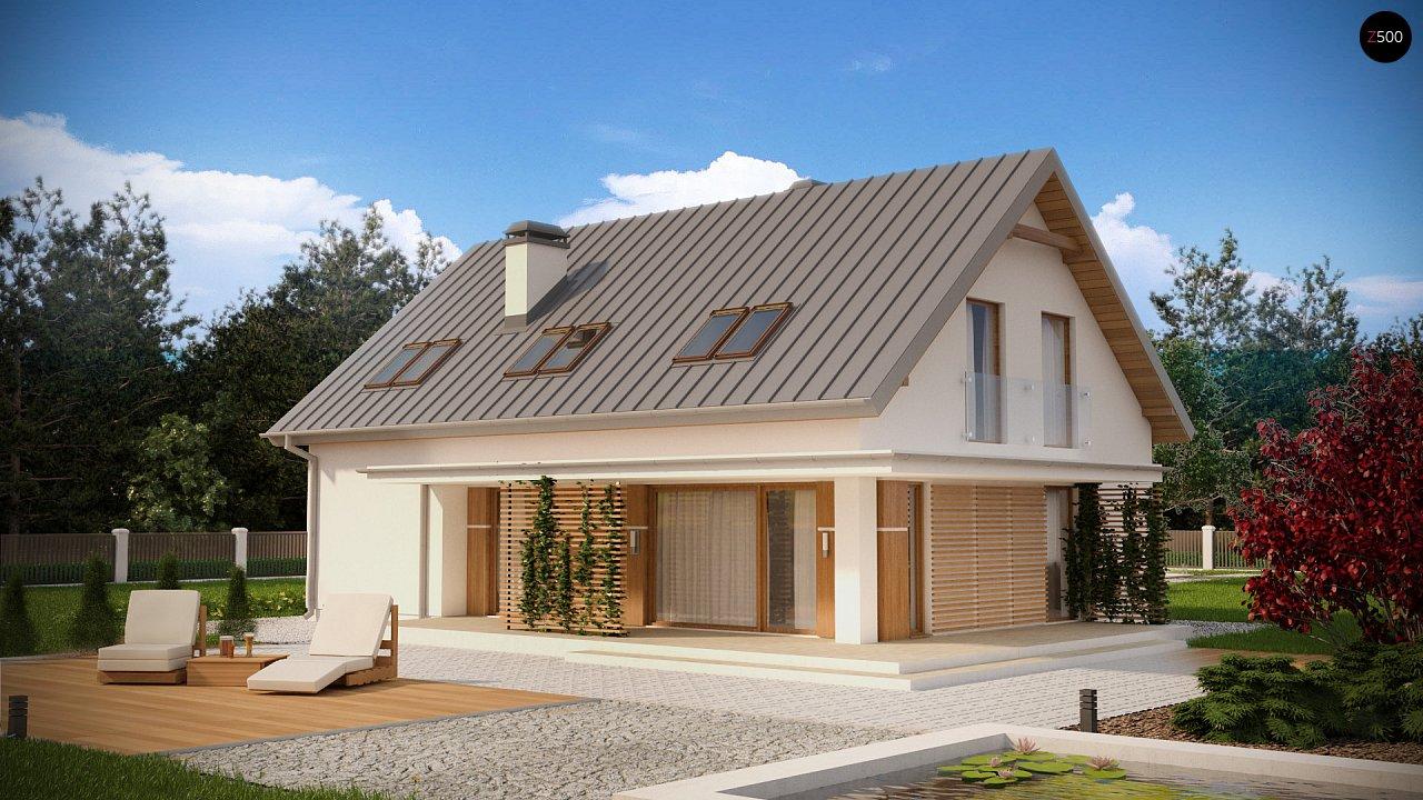 Аккуратный дом простой традиционной формы с гаражом и дополнительной спальней на первом этаже. 2