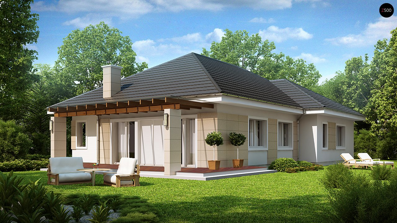 Практичный одноэтажный дом с гаражом для одной машины и возможностью адаптации чердачного помещения. - фото 2