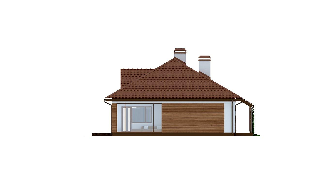 Традиционный одноэтажный дом с крытой террасой и оранжереей. 5
