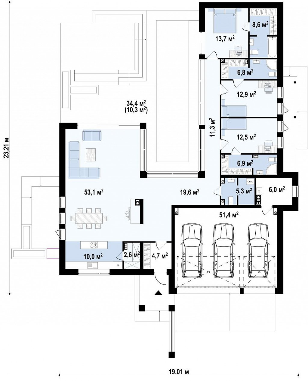 Одноэтажный дом в современном стиле с гаражом на 3 машины, с плоской кровлей план помещений 1