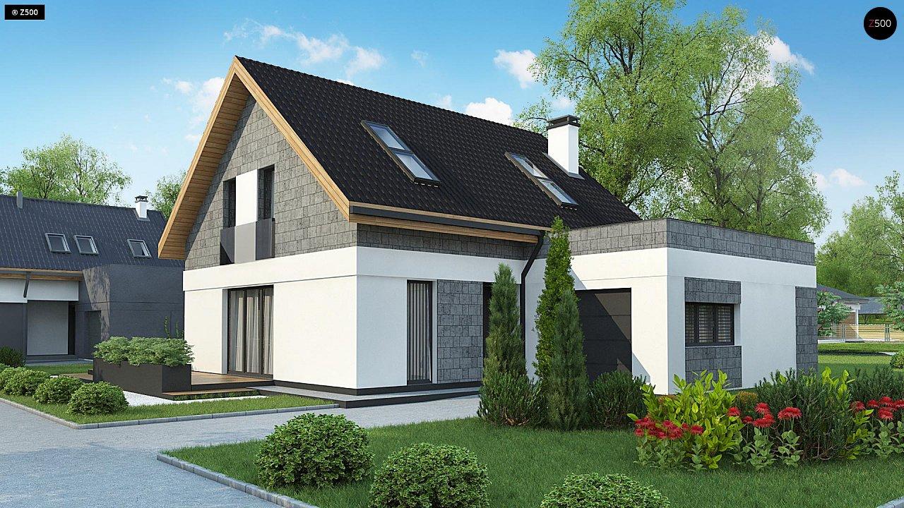 Мансардный дом с гаражом, расположенным с фронтальной стороны фасада - фото 4