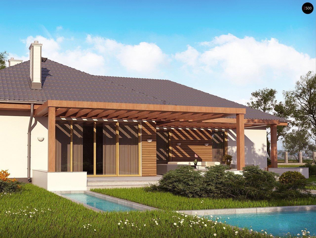 Проект комфортного одноэтажного дома с фронтальным гаражом для двух машин. 6