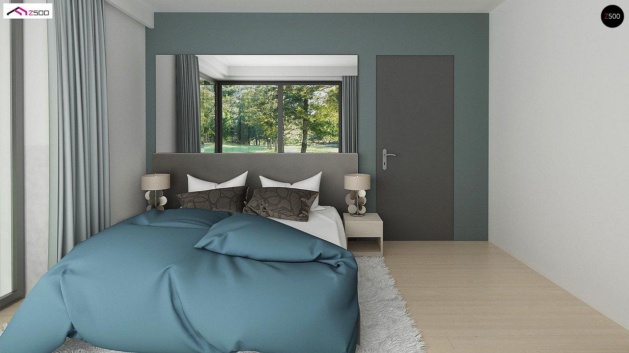 Проект одноэтажного дома Z390 с гаражом на 1 машину и красивым белым фасадом 17