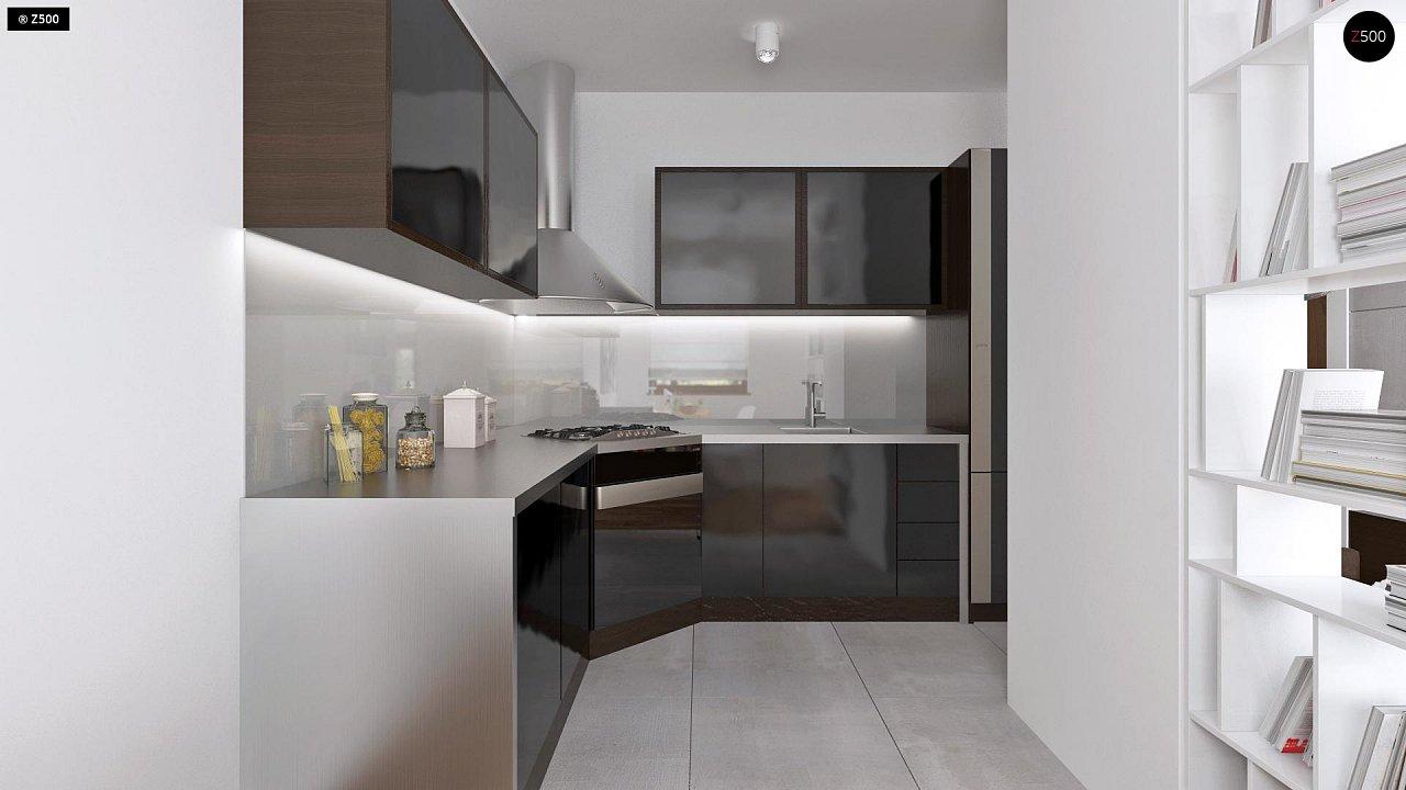 Аккуратный одноэтажный дом с деревянной облицовкой фасадов, адаптированный для каркасной технологии. 6