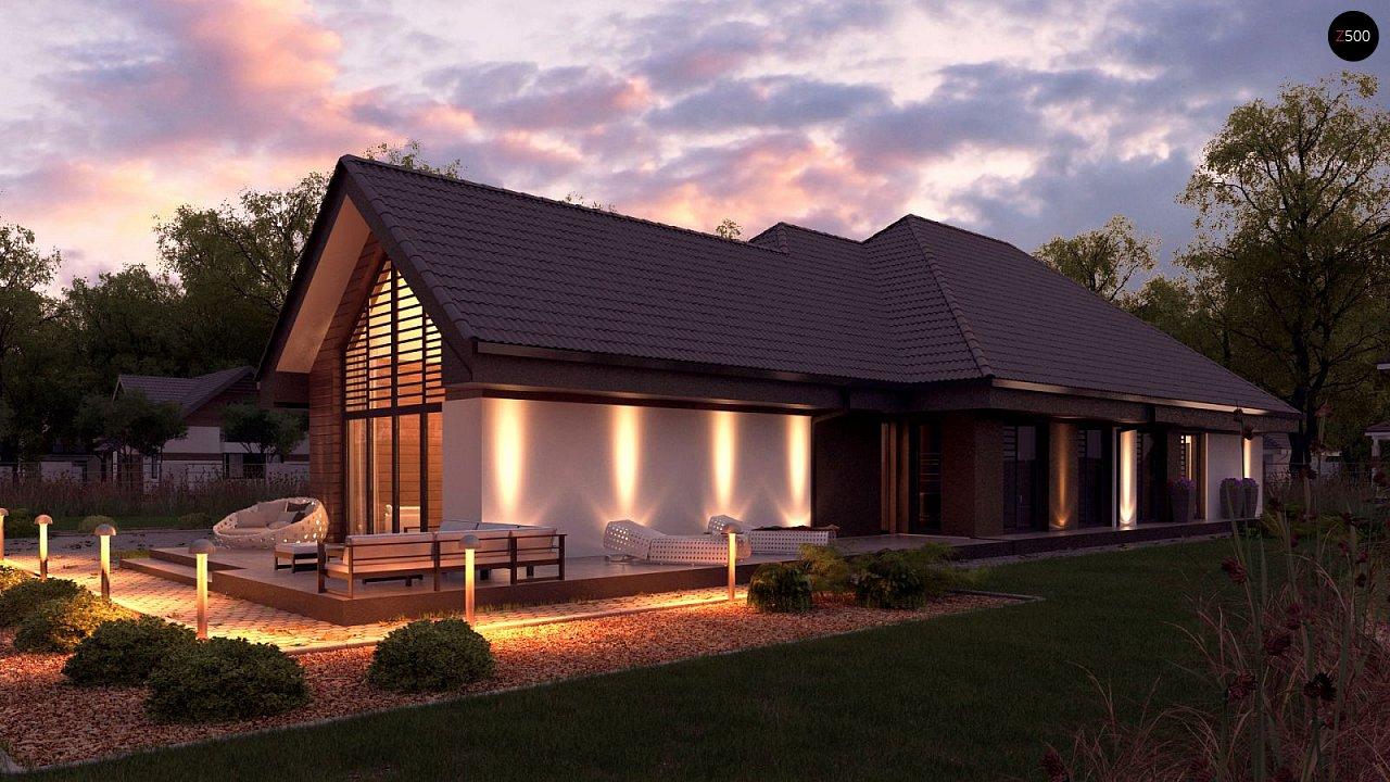 Одноэтажный дом в современном стиле, с многоскатной крышей и гаражом на два автомобиля. 3