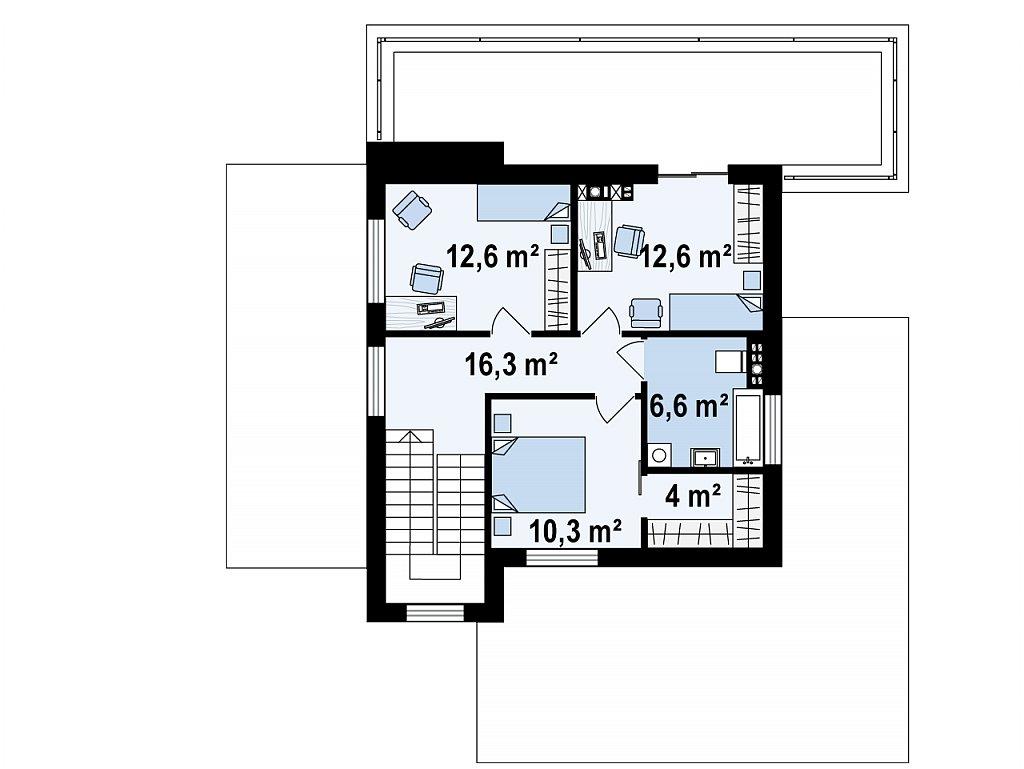 Современный дом с гаражом на 2 машины и террасой на первой план помещений 2