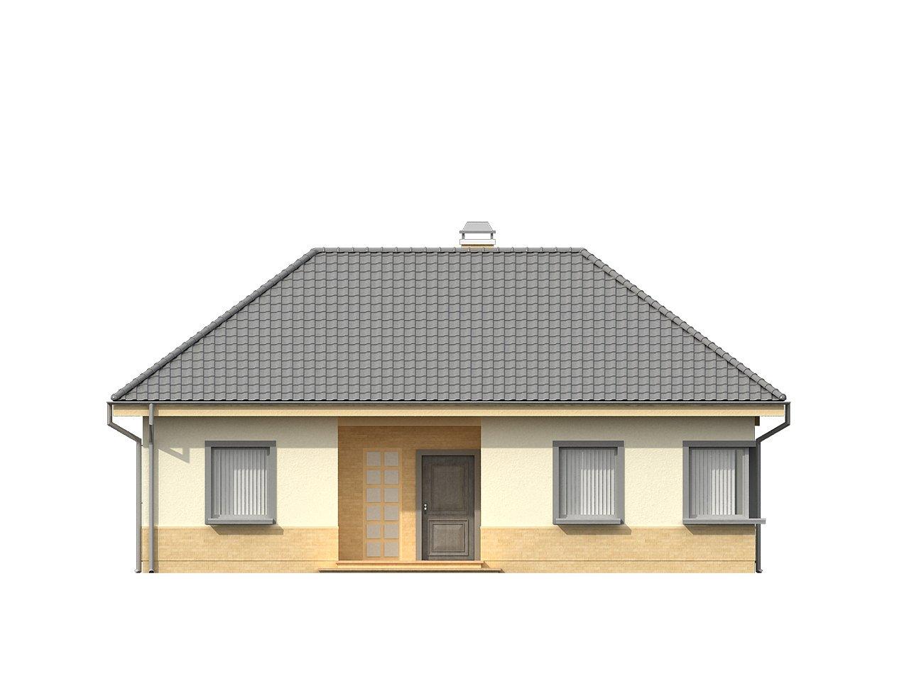 Практичный одноэтажный дом с 4-х скатной кровлей и угловым окном в кухне. 21