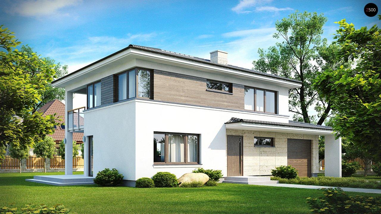 Двухэтажный современный дом с многоскатной низкой крышей, с гостиной с фронтальной стороны. - фото 1