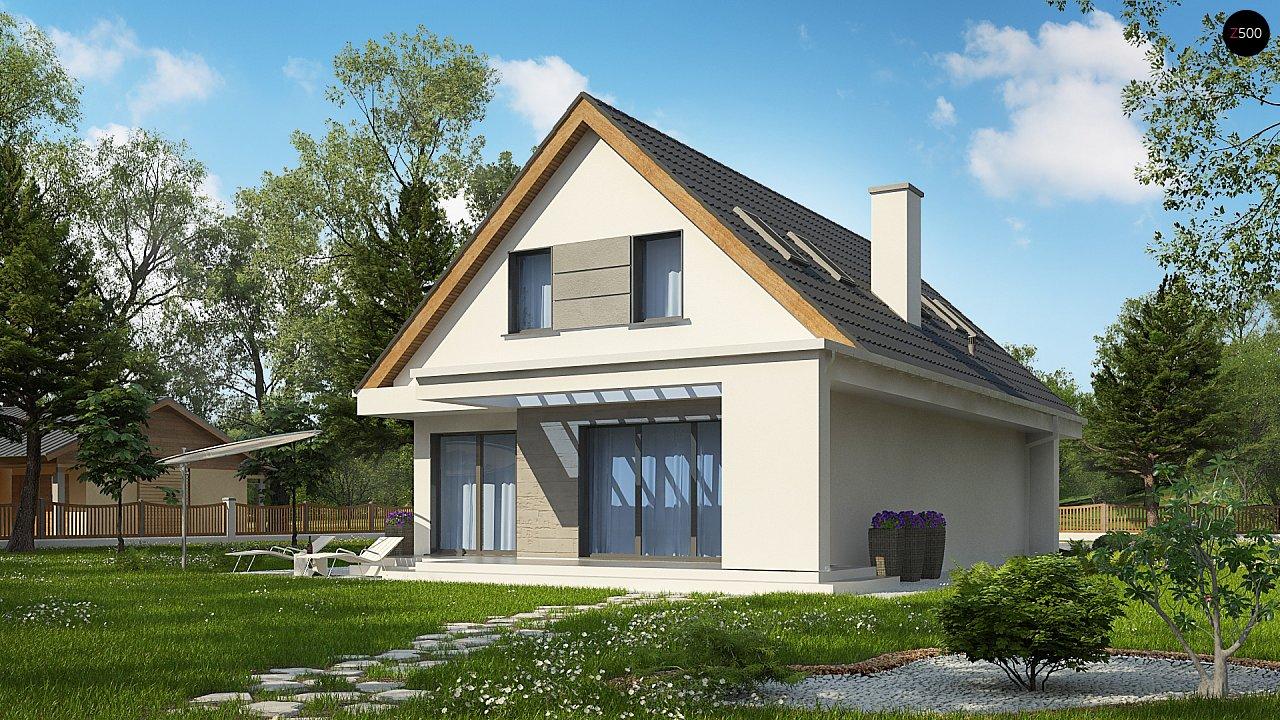 Проект классического мансардного дома с монохромным дизайном экстерьера 3