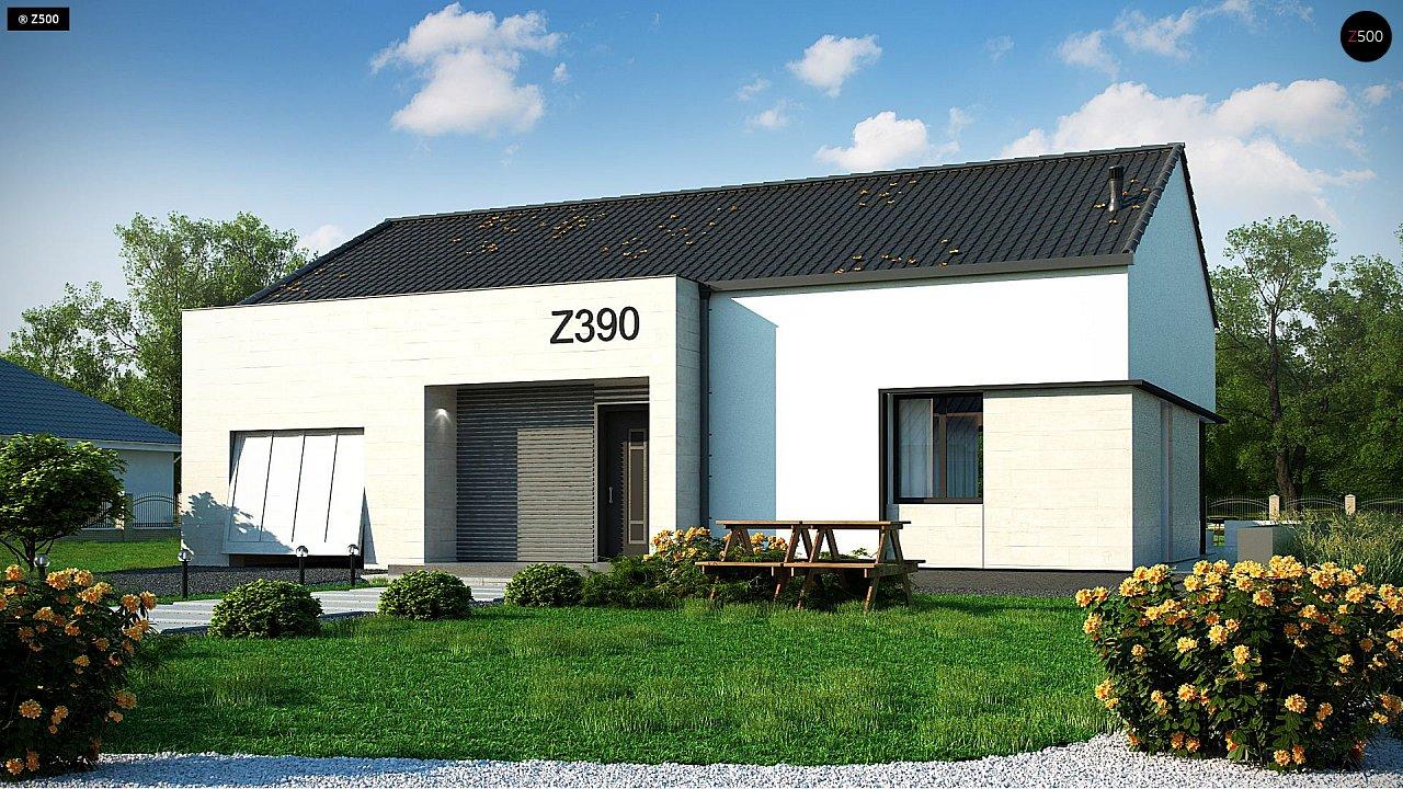 Проект одноэтажного дома Z390 с гаражом на 1 машину и красивым белым фасадом 1
