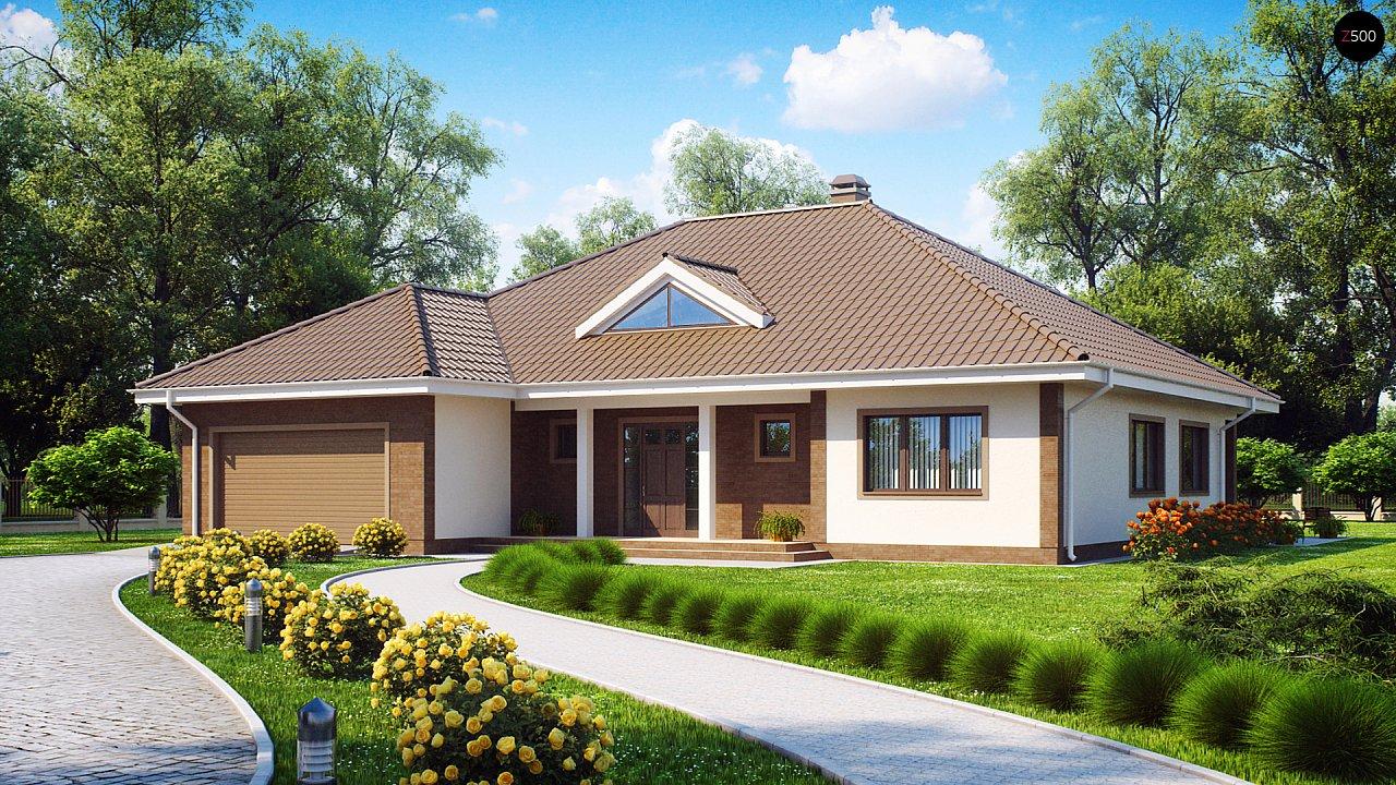 Одноэтажный дом с фронтальным гаражом для двух автомобилей. - фото 1