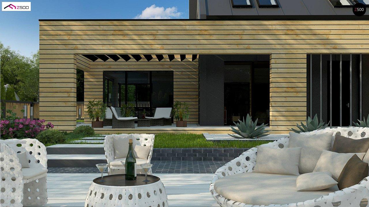 Современный дом с 2-х скатной кровлей, окруженный террасой с плоской крышей. 4