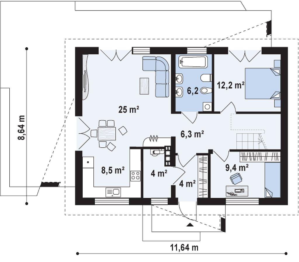 Небольшой одноэтажный дом с оригинальным оформлением террас. план помещений 1