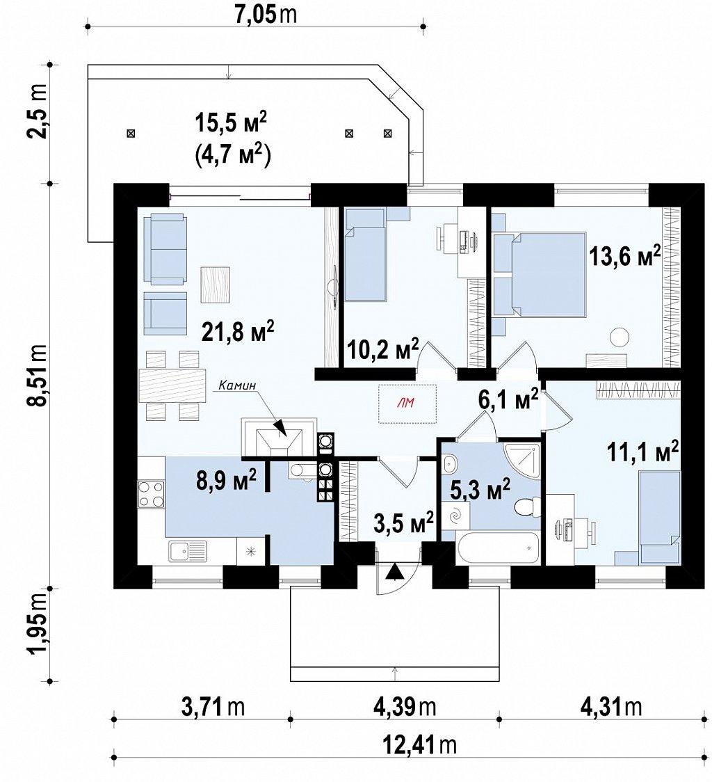 Компактный дом с двускатной крышей — выгодный, функциональный и практичный. план помещений 1