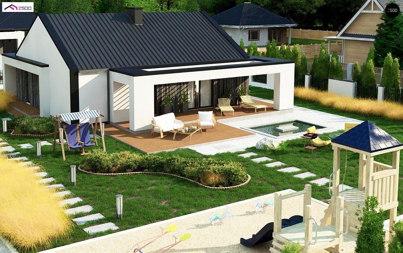 Компактный одноэтажный дом с двускатной крышей и 3 спальнями 6