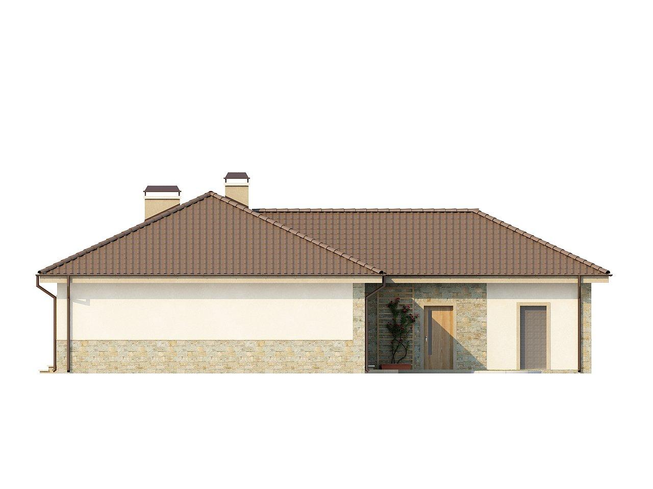 Одноэтажный дом в скандинавском стиле с дополнительной фронтальной террасой и гаражом на две машины. 4