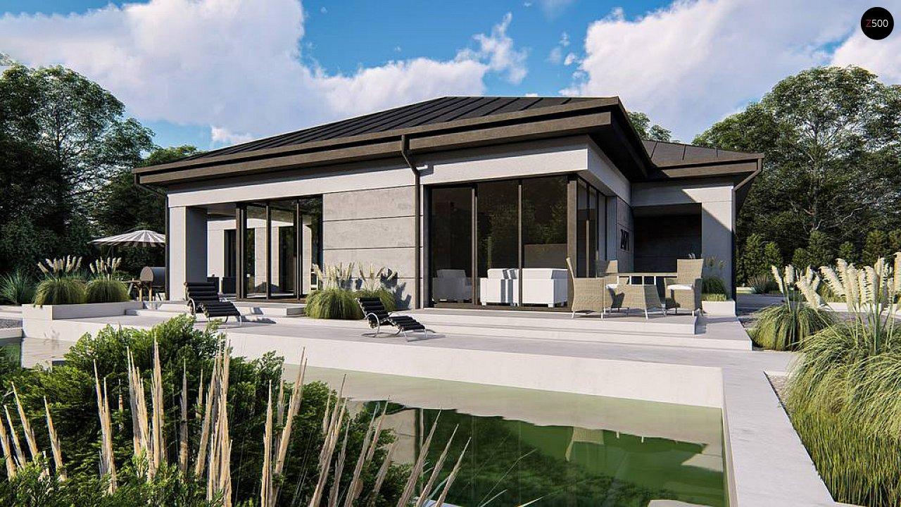 Одноэтажный современный проект дома с многоскатной крышей и гаражом на две машины. 2