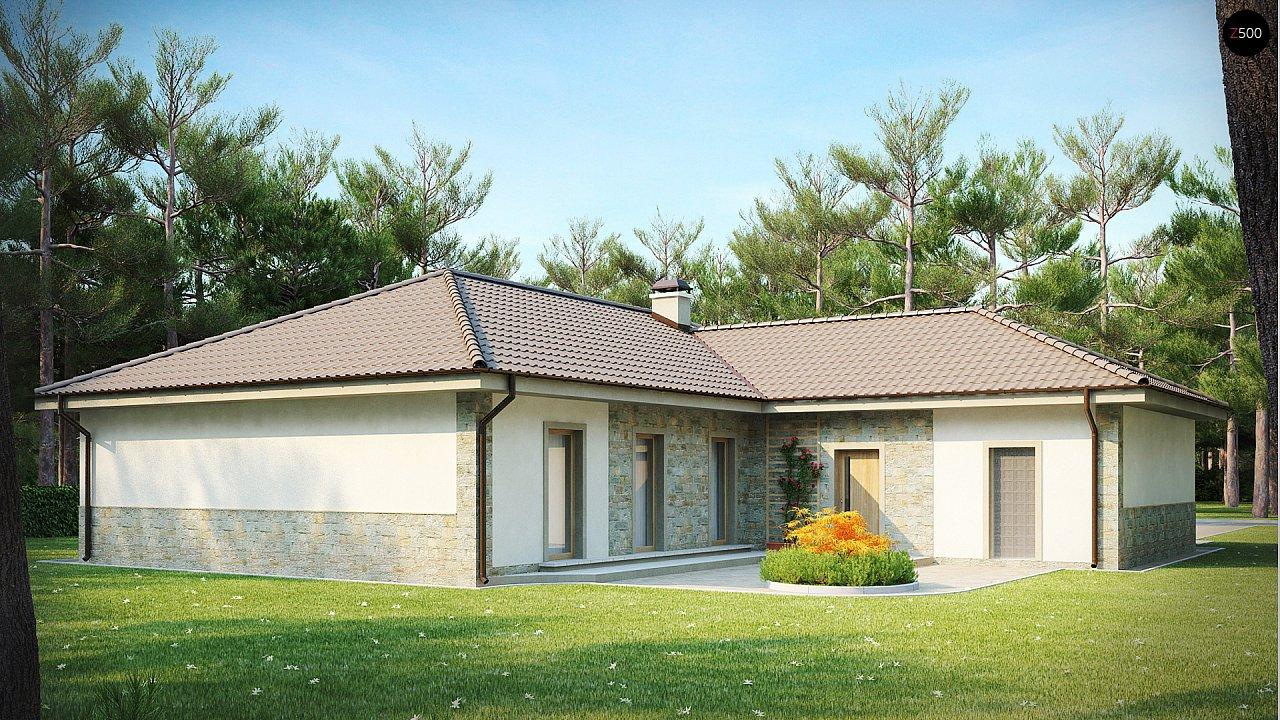Одноэтажный дом в скандинавском стиле с дополнительной фронтальной террасой и гаражом на две машины. 2